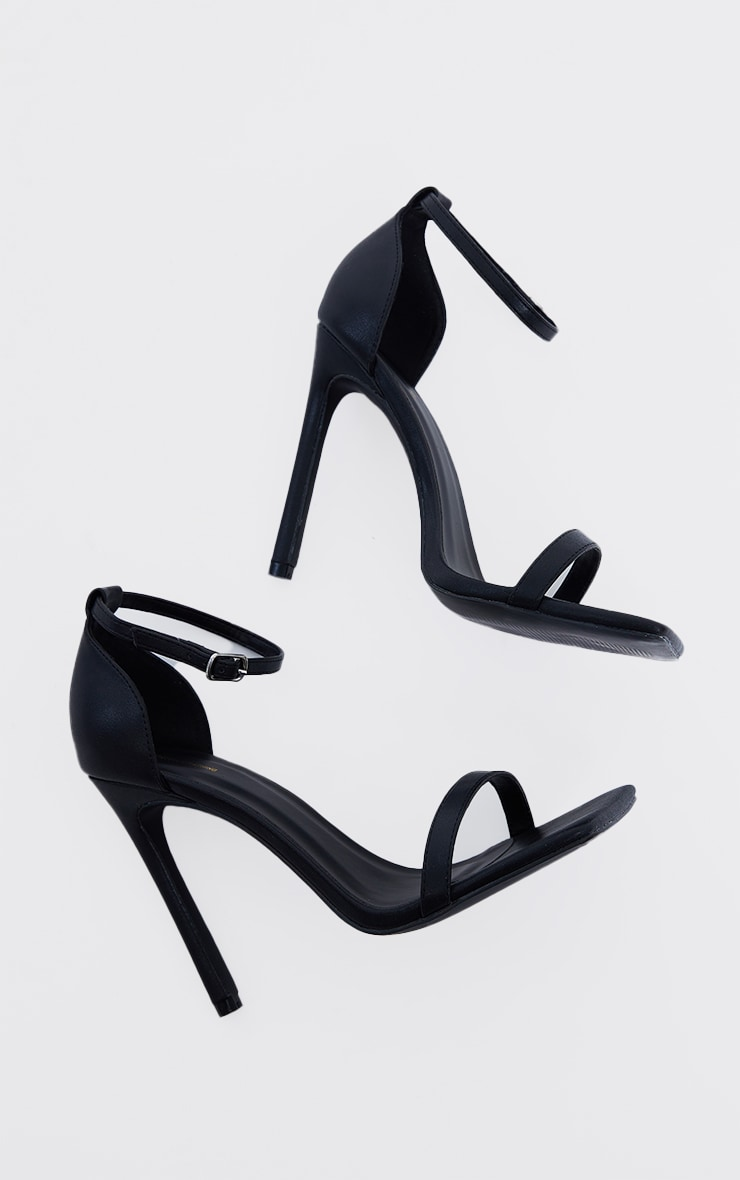 Black WIDE FIT Pu Barely There Strappy Heeled Sandals 4