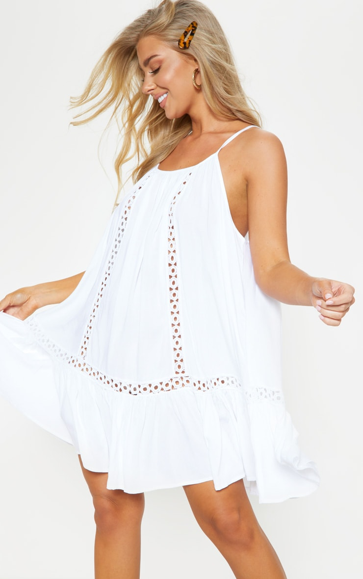White Crochet Trim Frill Hem Beach Dress 1