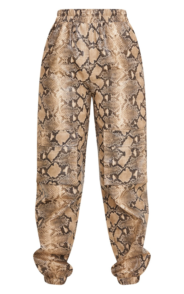 Taupe Snake Print Pocket Detail Cargo Pants 3