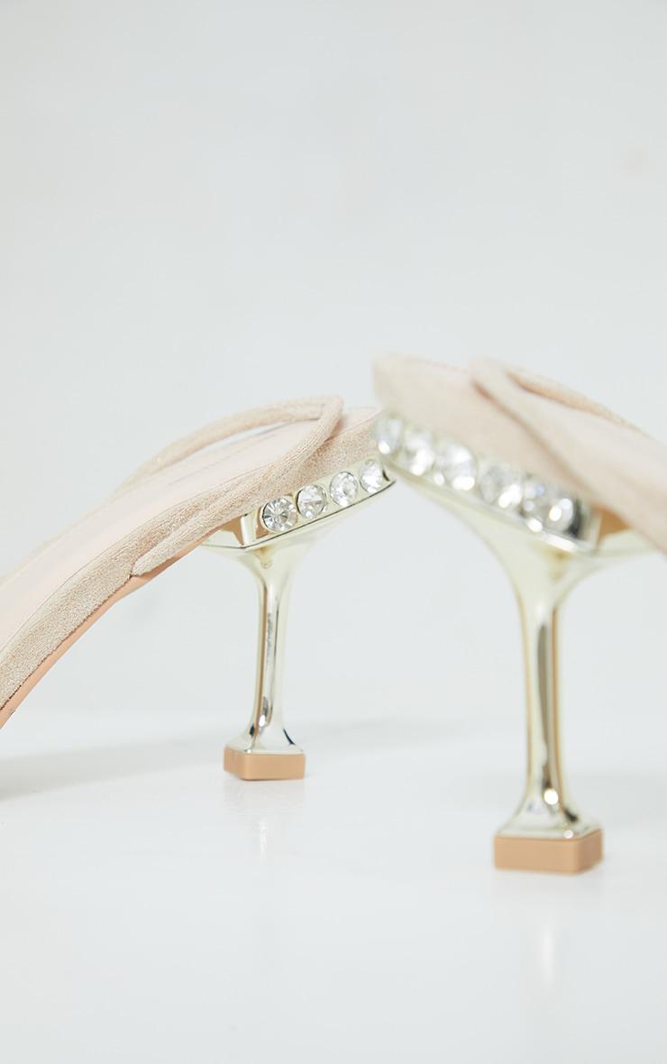 Nude High Metal Jewel Cake Stand Slingback Sandals 3