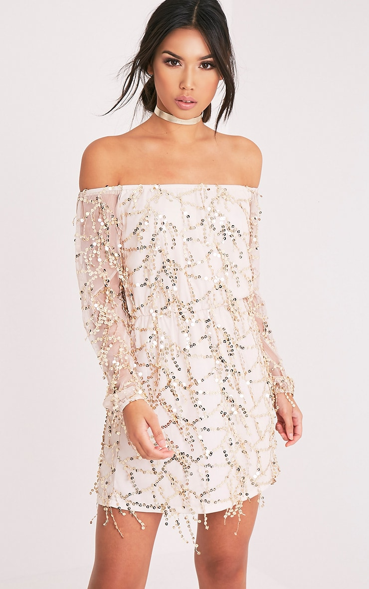 Suki Nude Sequin Detail Bardot Dress 1