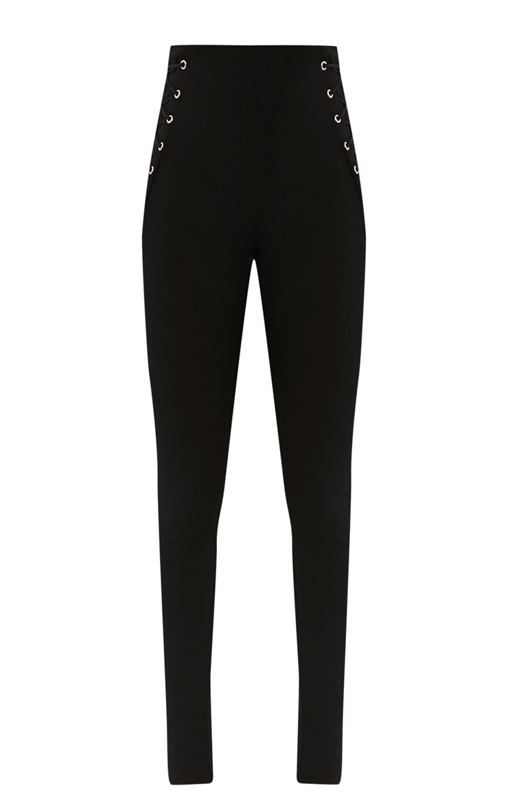 Amia Black Lace Up Pocket Trousers 3
