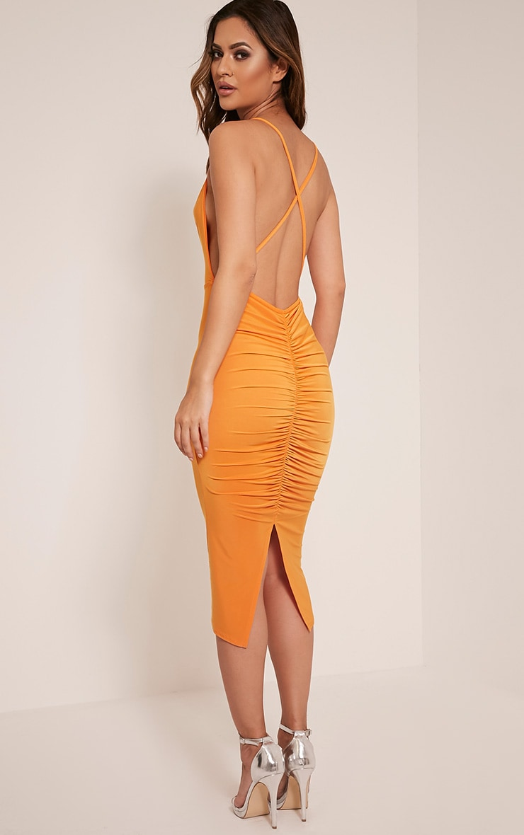 Kayda Bright Orange Cross Back Cowl Neck Midi Dress 1