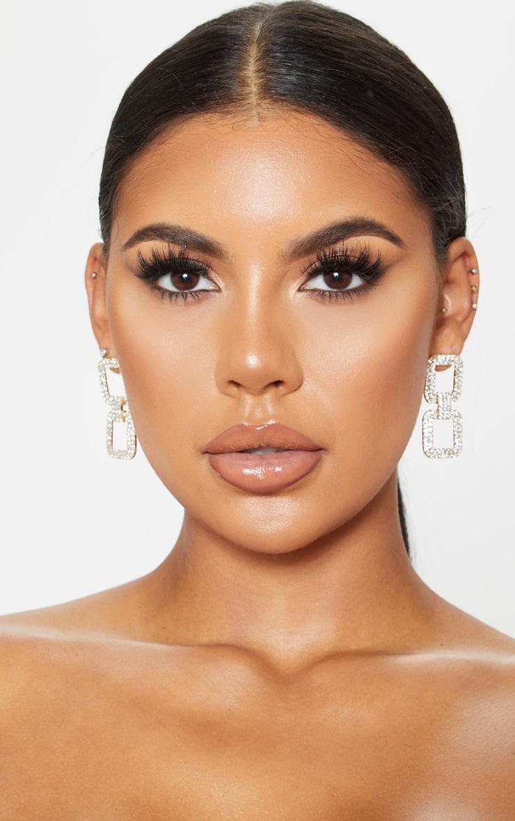 Gold Diamante Link Drop Statement Earrings 1