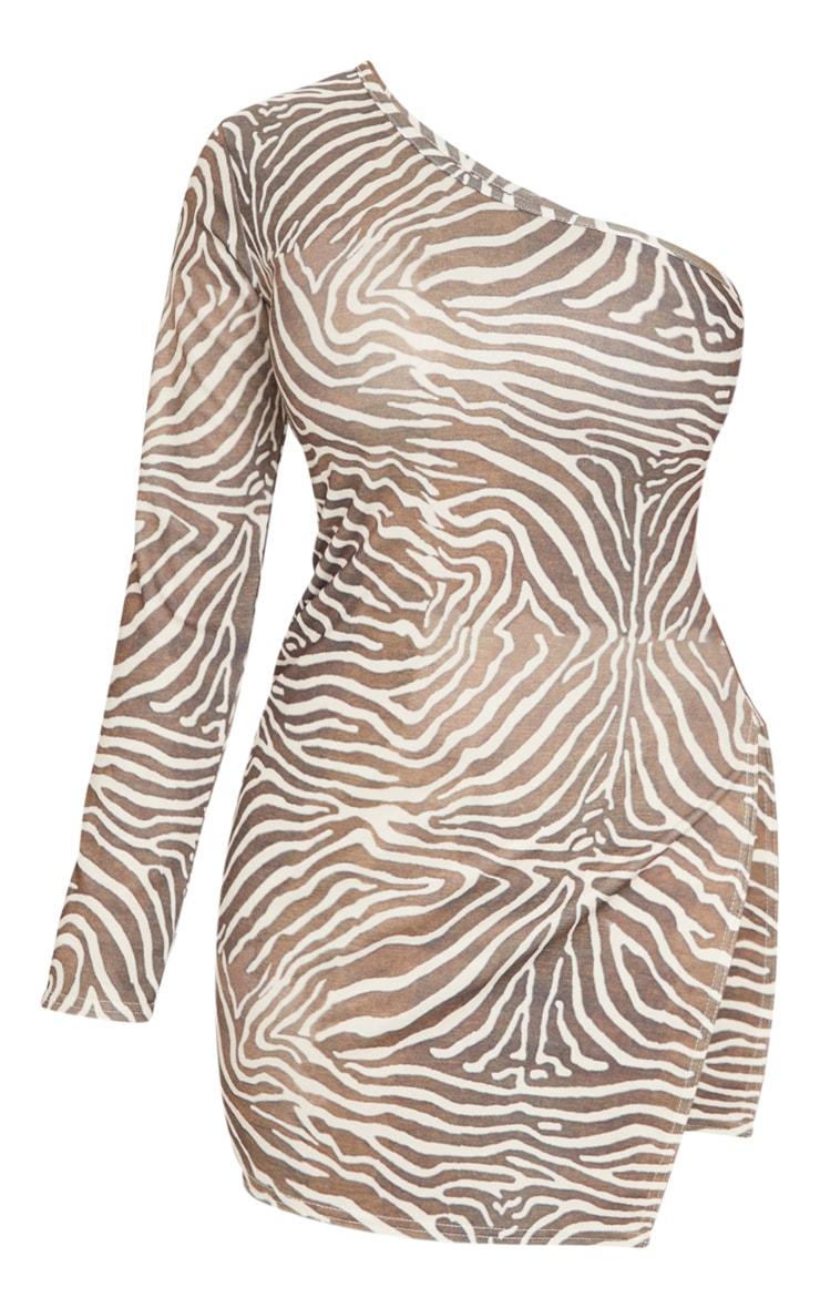Shape - Robe moulante en jersey crème zébrée à manche unique et fente 5