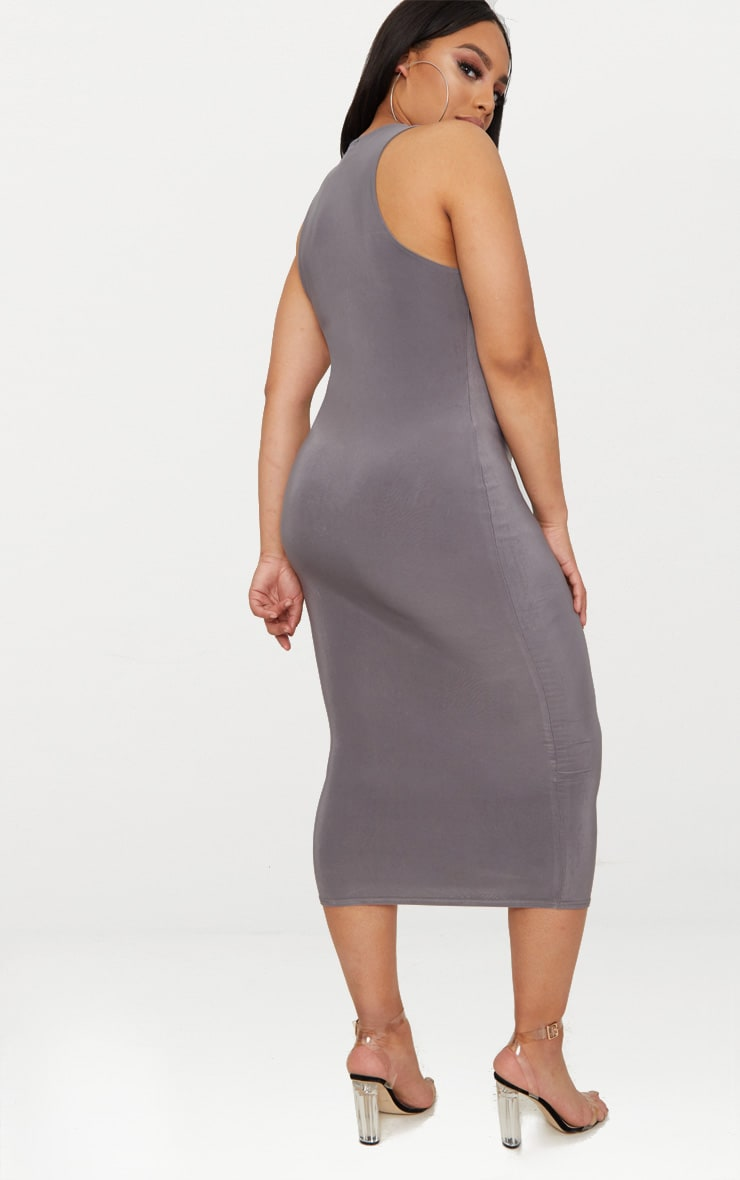 Plus Charcoal Grey Second Skin Slinky Racer Neck Midaxi Dress 2