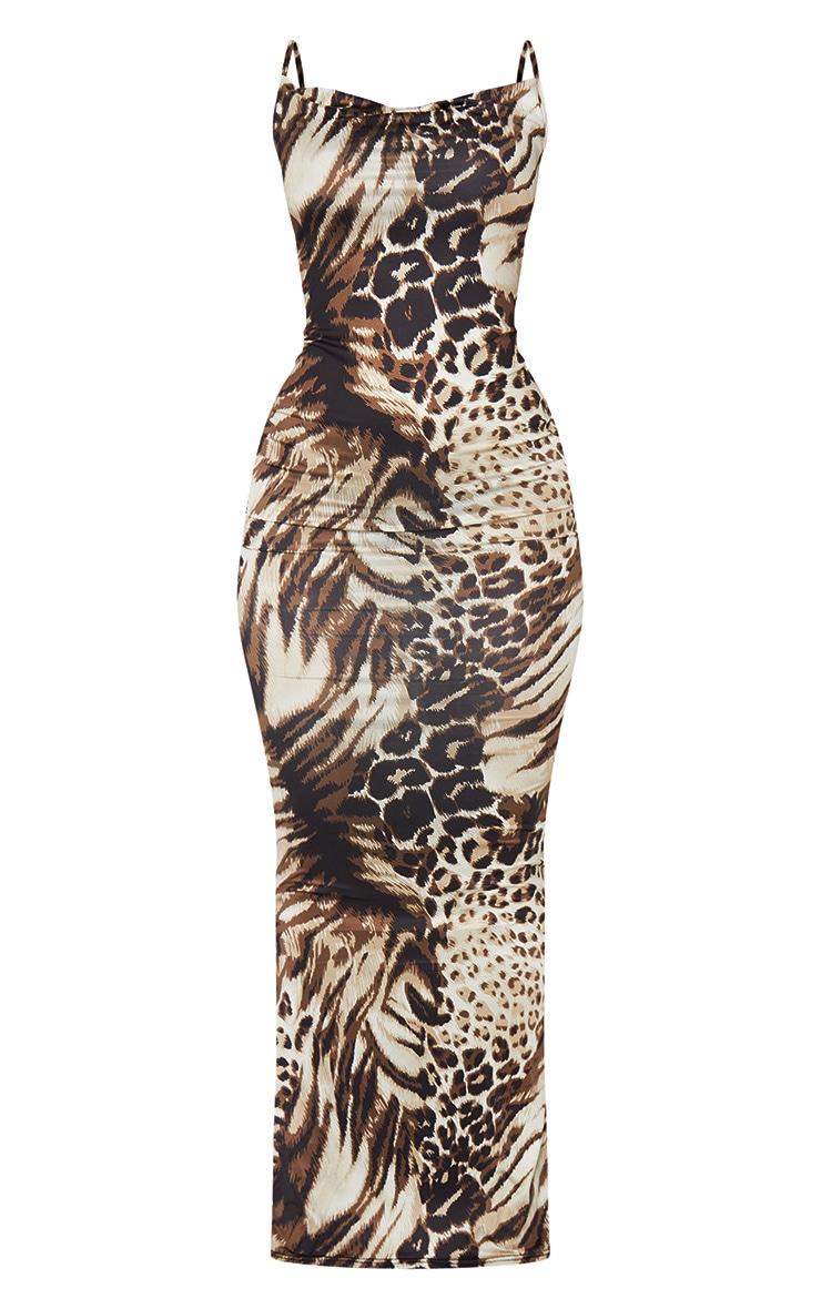 Nude Leopard Print Cowl Neck Strappy Maxi Dress 5