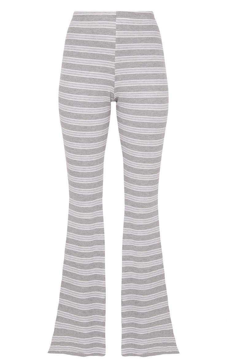Pale Grey Ribbed Stripe Flare Trouser 3