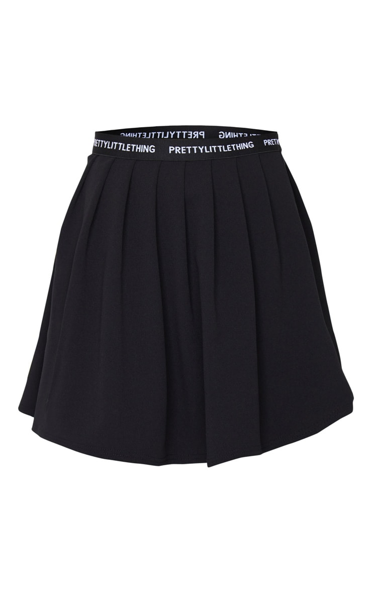 PRETTYLITTLETHING Black Tape Pleated Skater Skirt 7