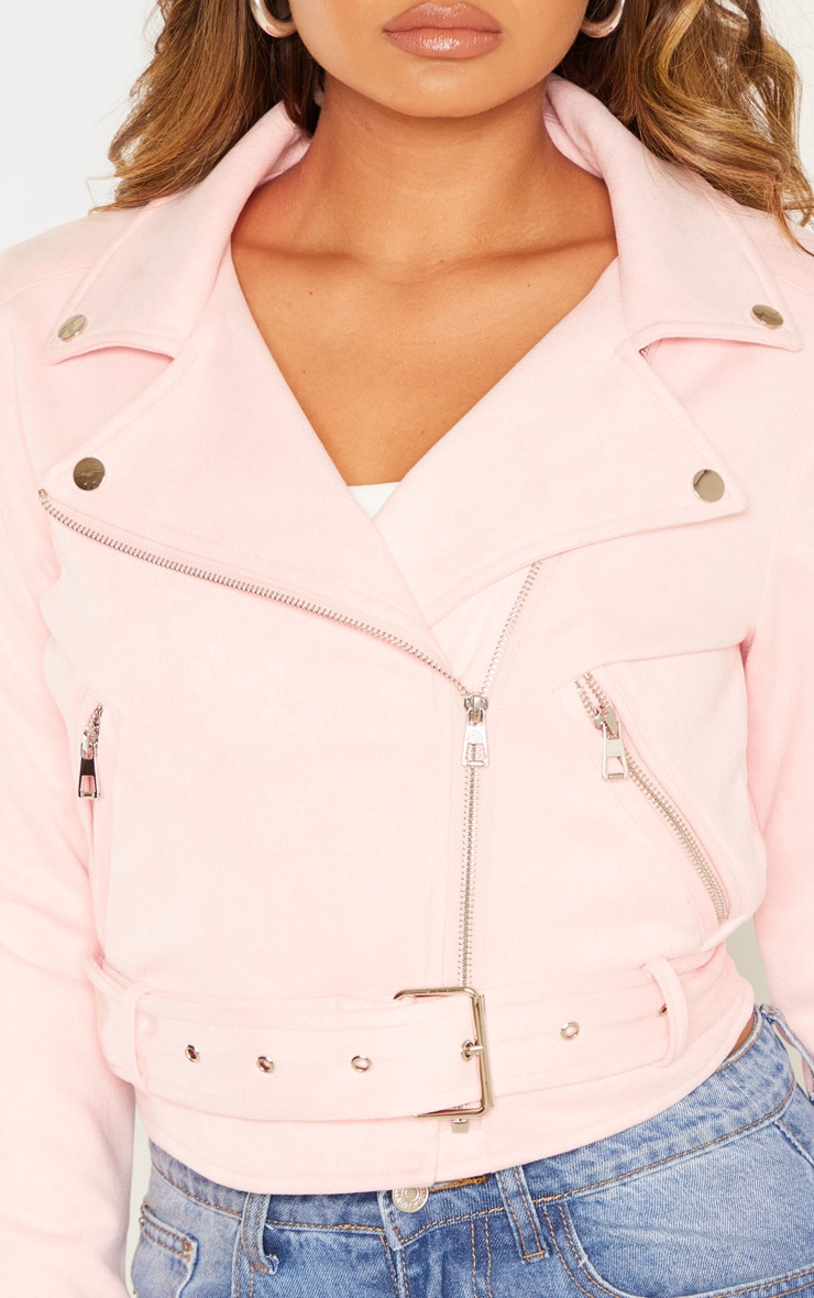 Light Pink Faux Suede Biker Jacket  5