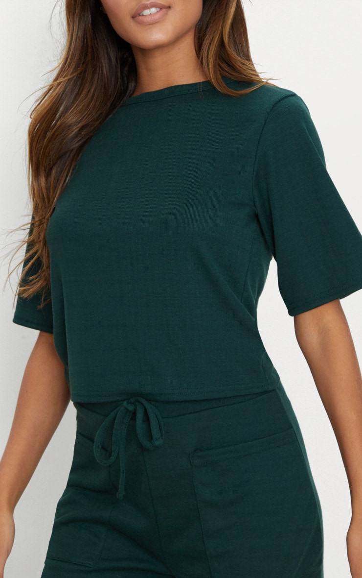 Emerald Green Soft Rib Boxy T Shirt 5