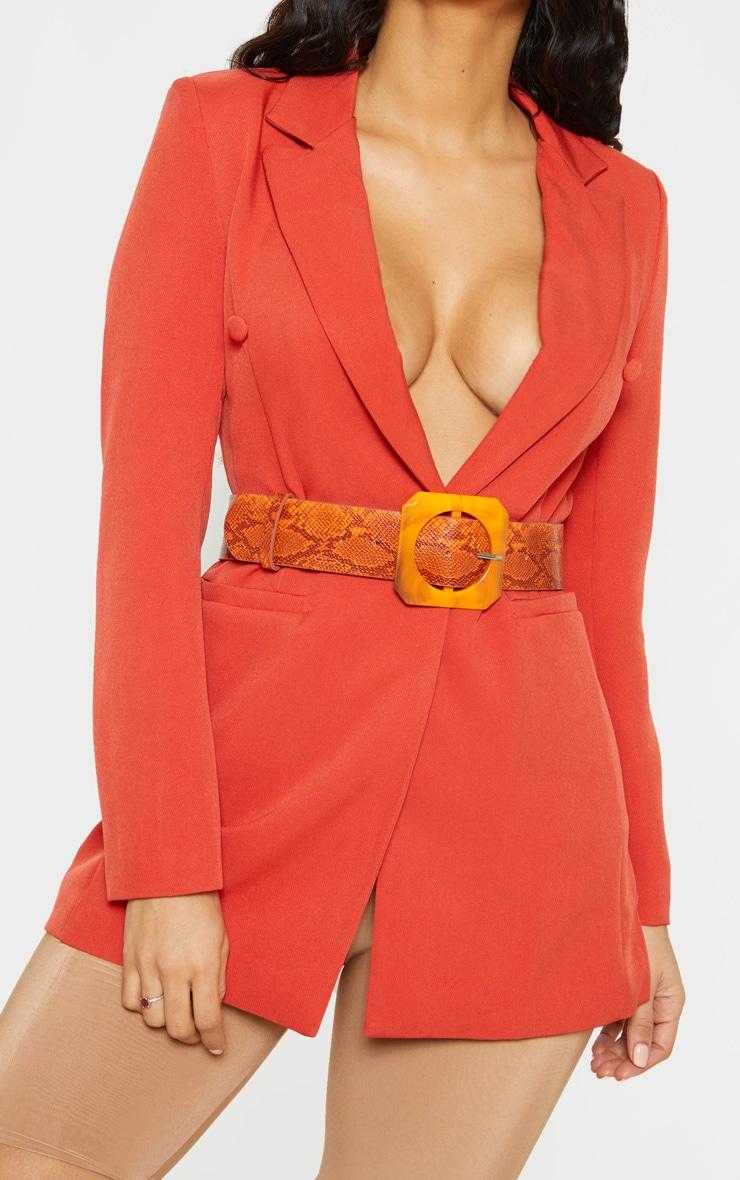 Orange Snake Square Resin Buckle Belt 1