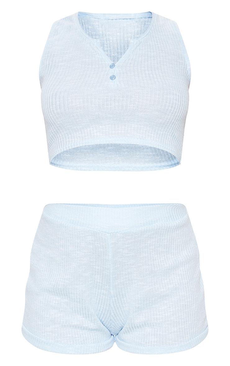 Blue Button Front Rib PJ Vest And Short 3