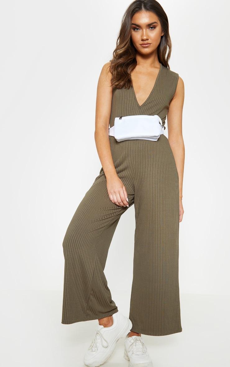 Khaki Rib Oversized Slouchy Jumpsuit 4
