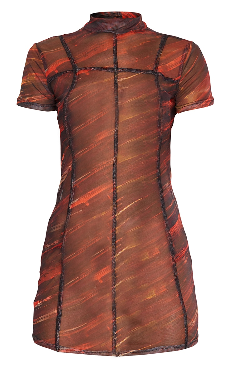 Red Abstract Print Mesh High Neck Stitch Detail Bodycon Dress 5