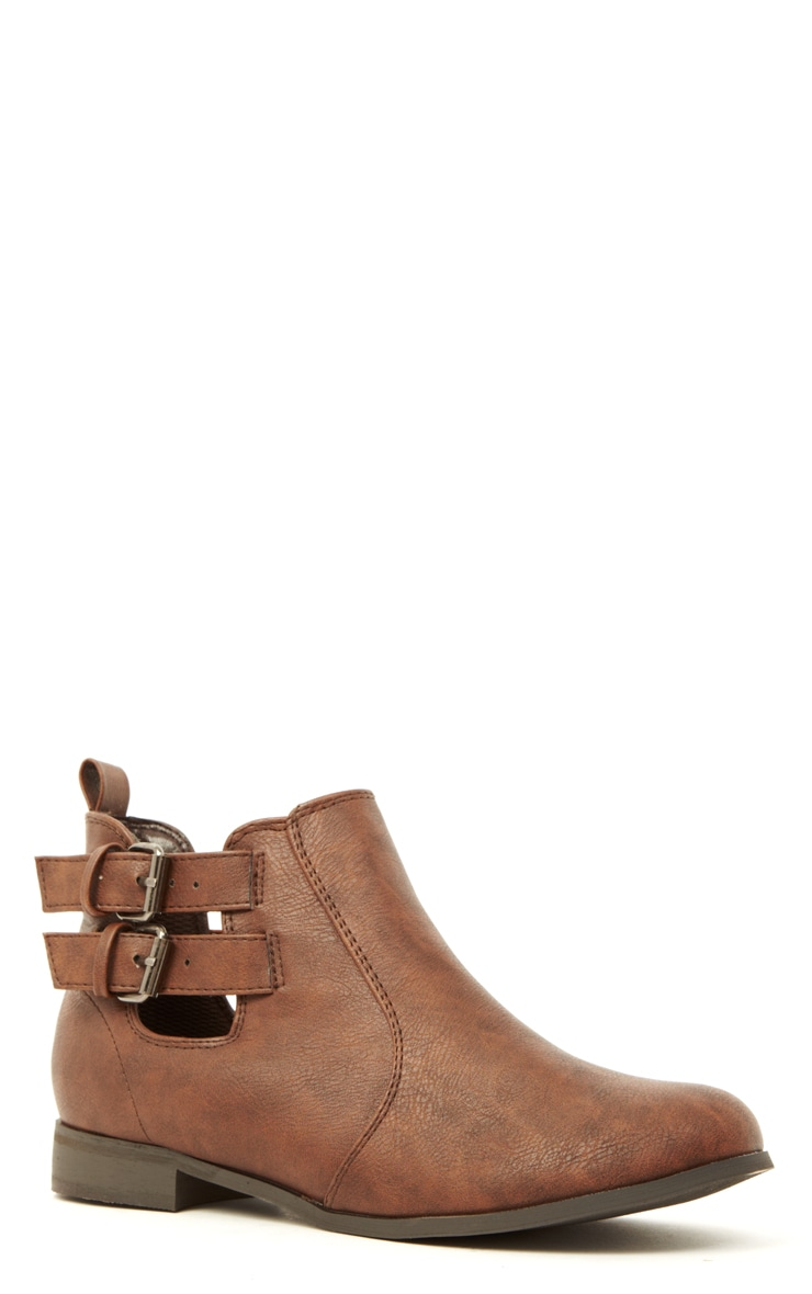 Isla Brown PU Cut Out Ankle Boots  4