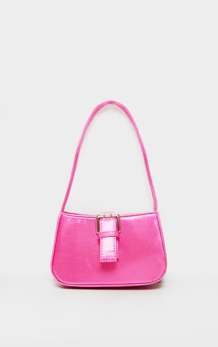 Pink Satin Buckle Front Shoulder Bag 2