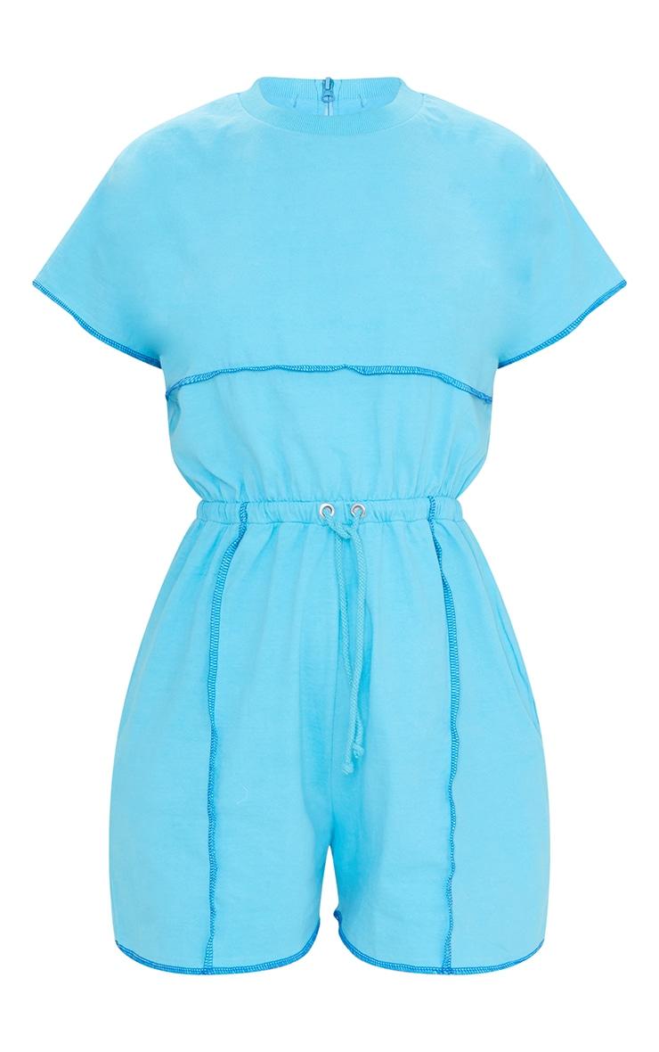 Bright Blue Overlocked Hem T Shirt Romper 5
