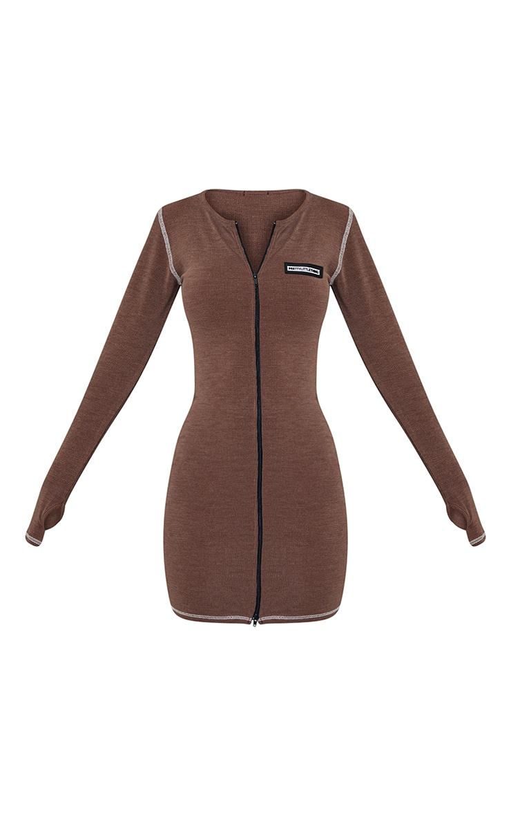 PRETTYLITTLETHING Brown Washed Rib Zip Through Thumb Hole Bodycon Dress 5