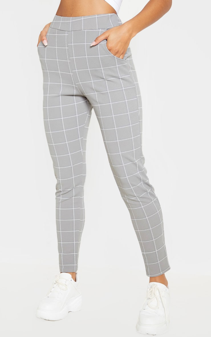 Grey Tweed Check Skinny Trousers 2
