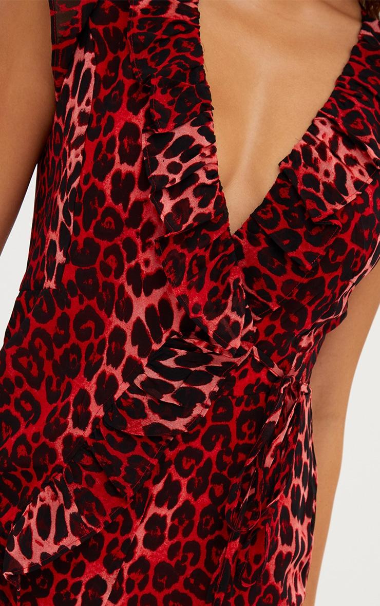 Red Leopard Print Wrap Tie Playsuit 5