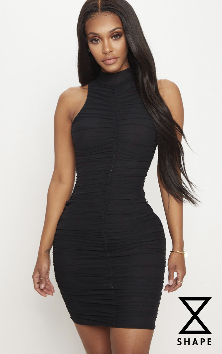 Shape Black Mesh High Neck Ruched Bodycon Dress