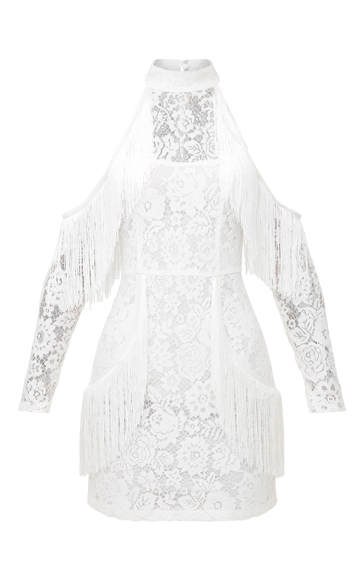 White Lace Tassel Detail Cold Shoulder Bodycon Dress 3