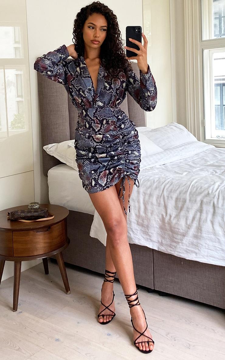 Grey Snake Print Woven Ruched Deep Plunge Blazer Dress 3