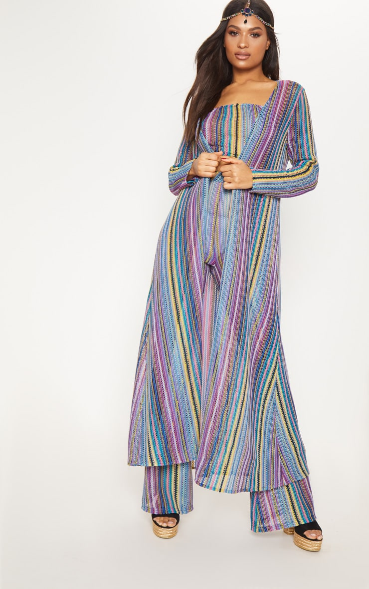 Multi Crochet Stripe Maxi Cardigan  5