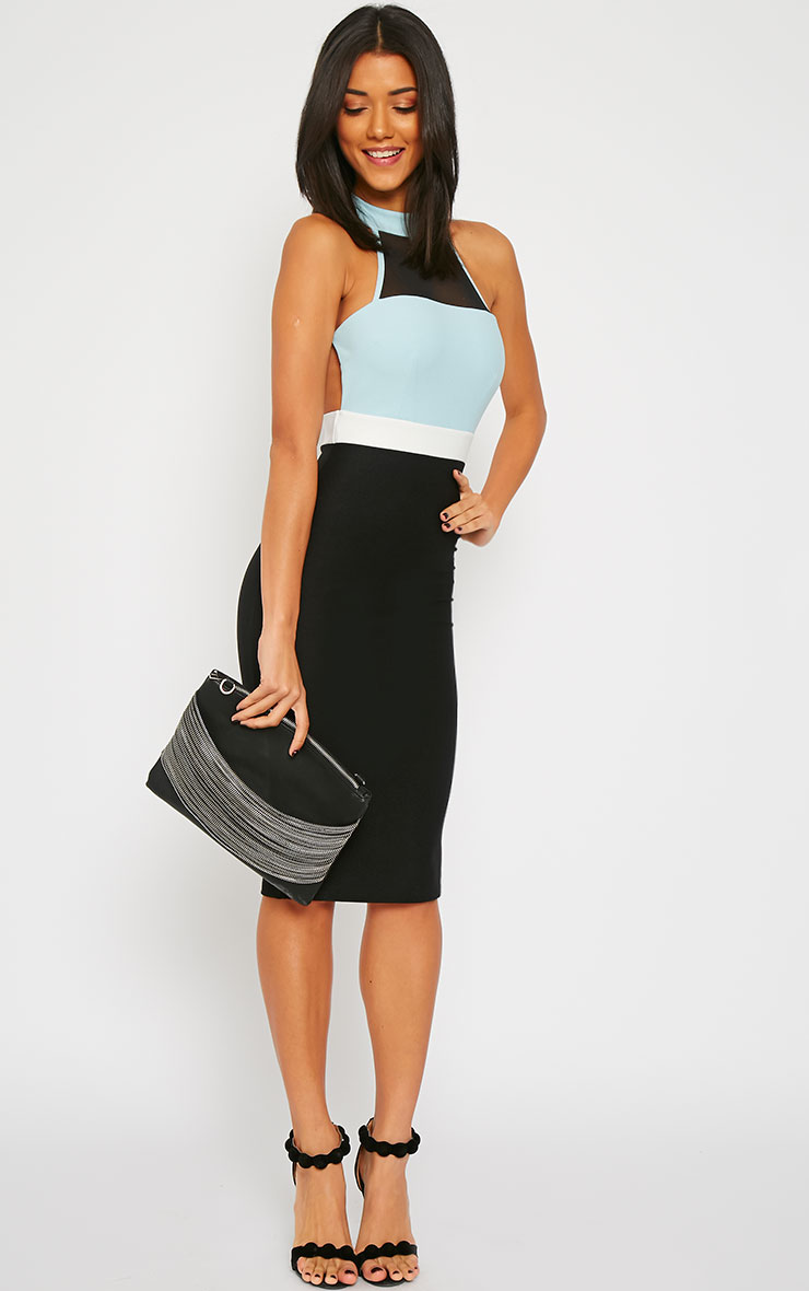 Alexandra Powder Blue Colour Block Halterneck Dress 3