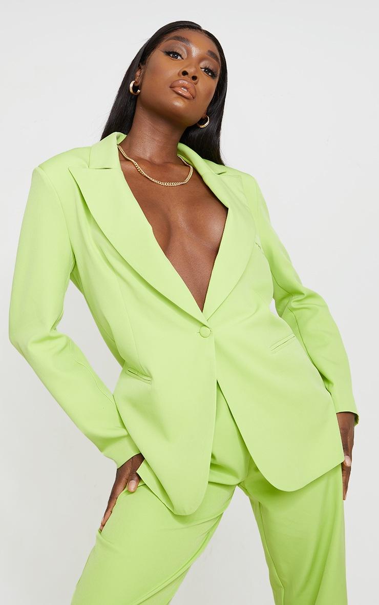 Tall Lime Oversized Shoulder Pad Suit Blazer image 1