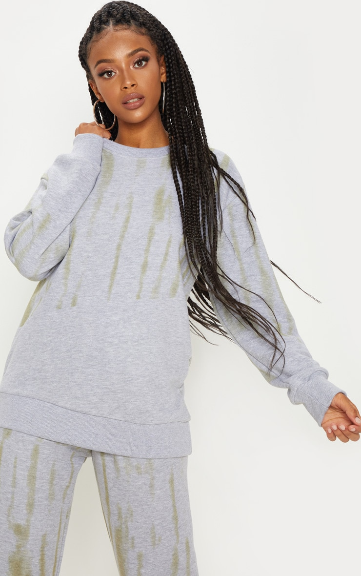 Grey Tie Dye Oversized Sweater