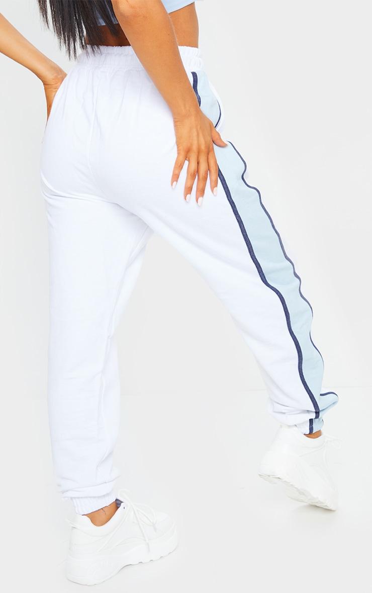 White Multi Side Stripe Joggers 3