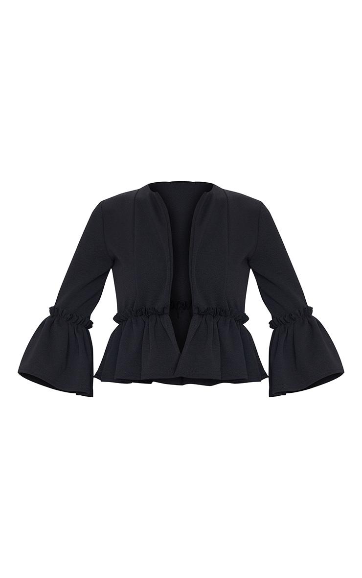 Veste de blazer noire avec volants 5