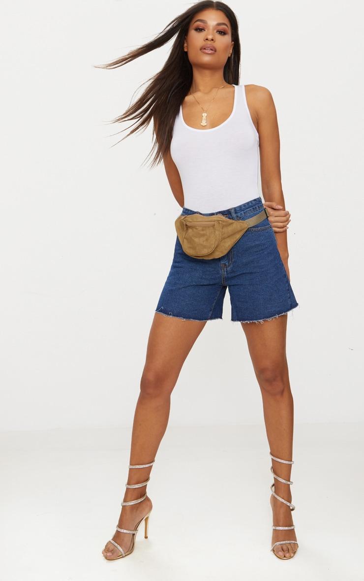 Short long en jean délavage foncé 1