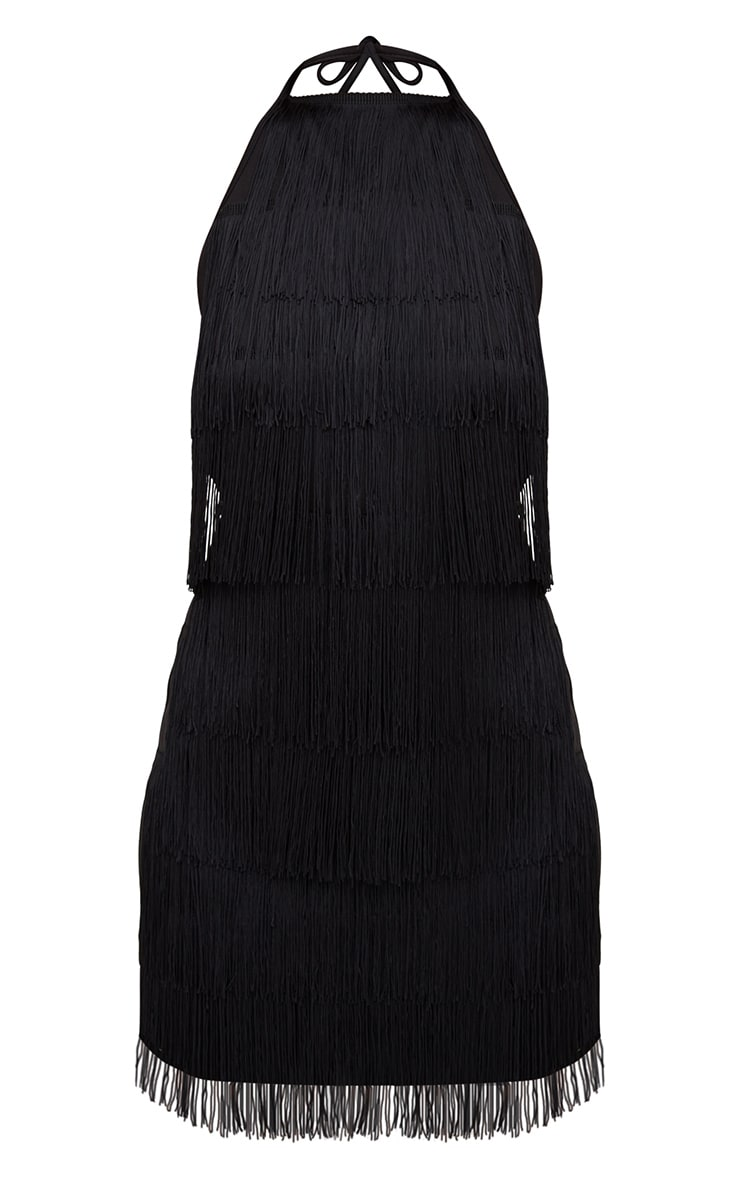 Black Tassel Detail Halterneck Bodycon Dress 3