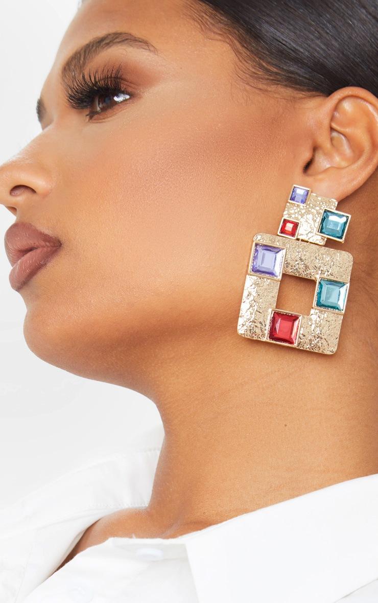 Gold Multi Gemstone Square Door Knocker Earring 1