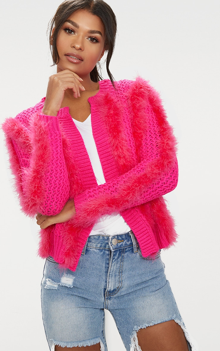 Pink Feather Cardigan 1