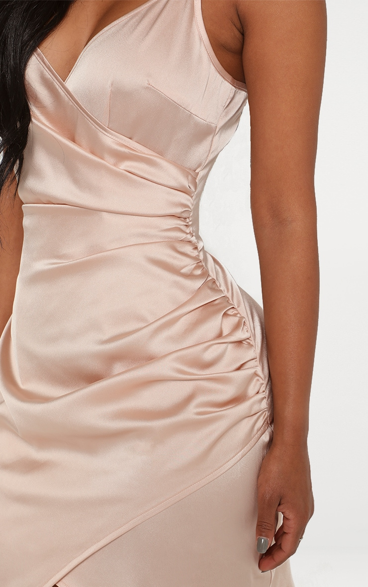 Shape Champagne Satin Wrap Dress 4
