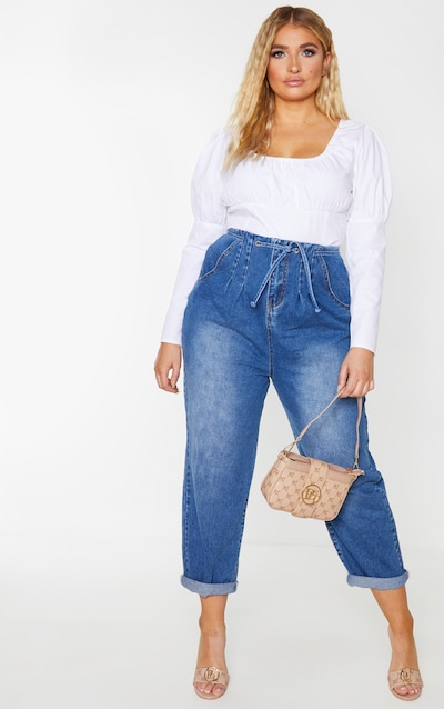 Plus Mid Wash High Waist Balloon Jean