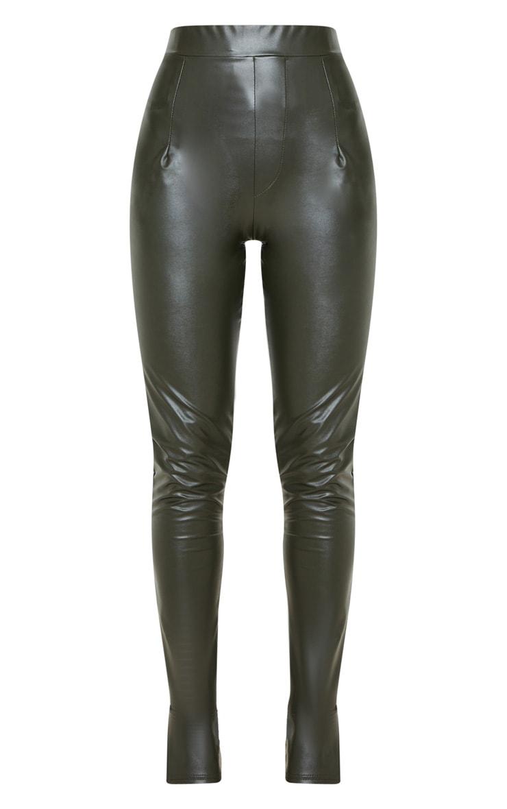 Khaki Faux Leather Split Hem Skinny Pants 3
