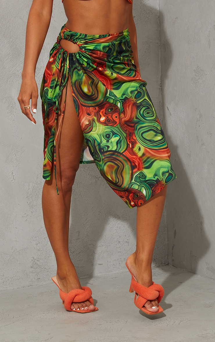 Yellow Abstract Swirl Woven Ruched Cut Out Detailing Midi Skirt 2
