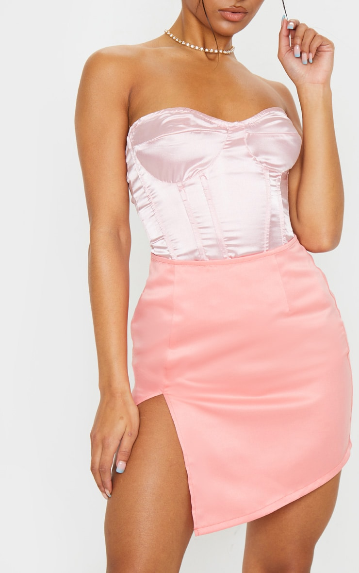 Pink Tailored Satin Split Front Mini Skirt 6