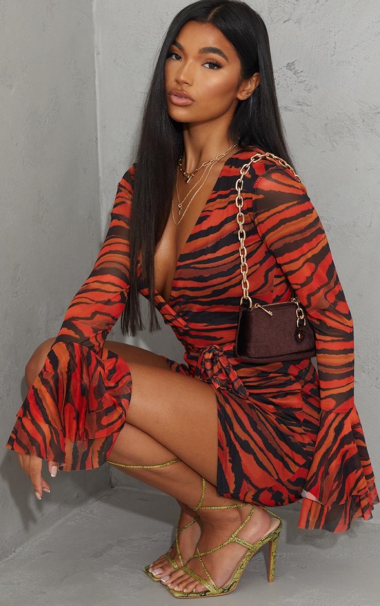 Orange Zebra Print Mesh Flared Sleeve Tie Waist Bodycon Dress 1