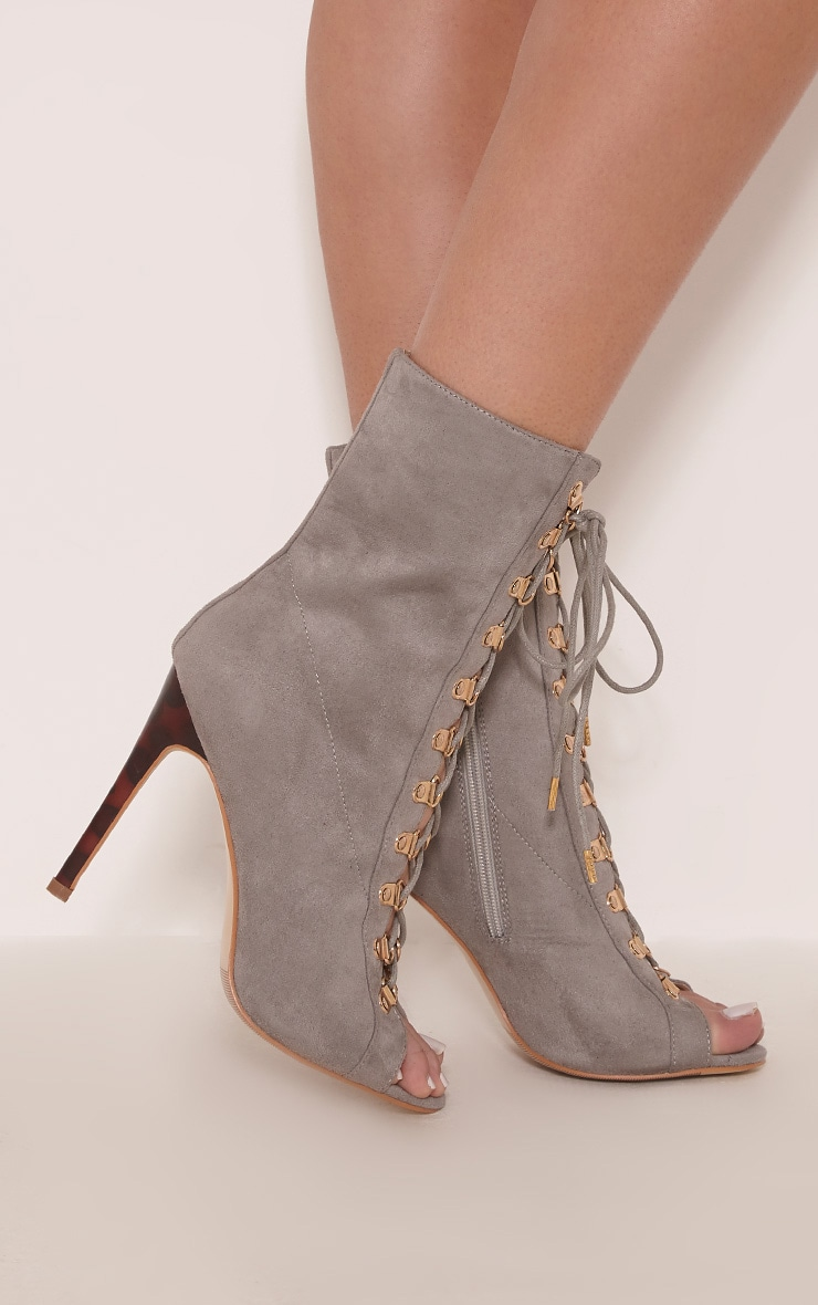Elina Grey Lace Up Open Toe Ankle Boots 2