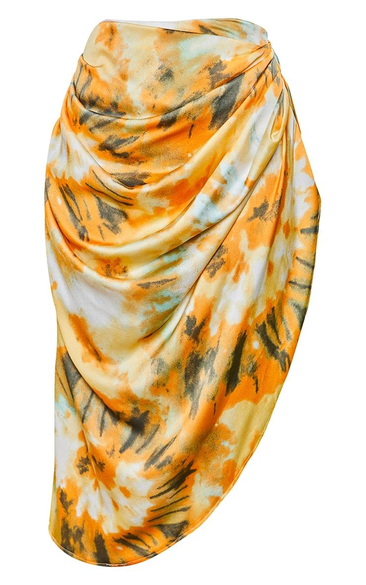 Orange Tie Dye Ruched Side Midi Skirt 3
