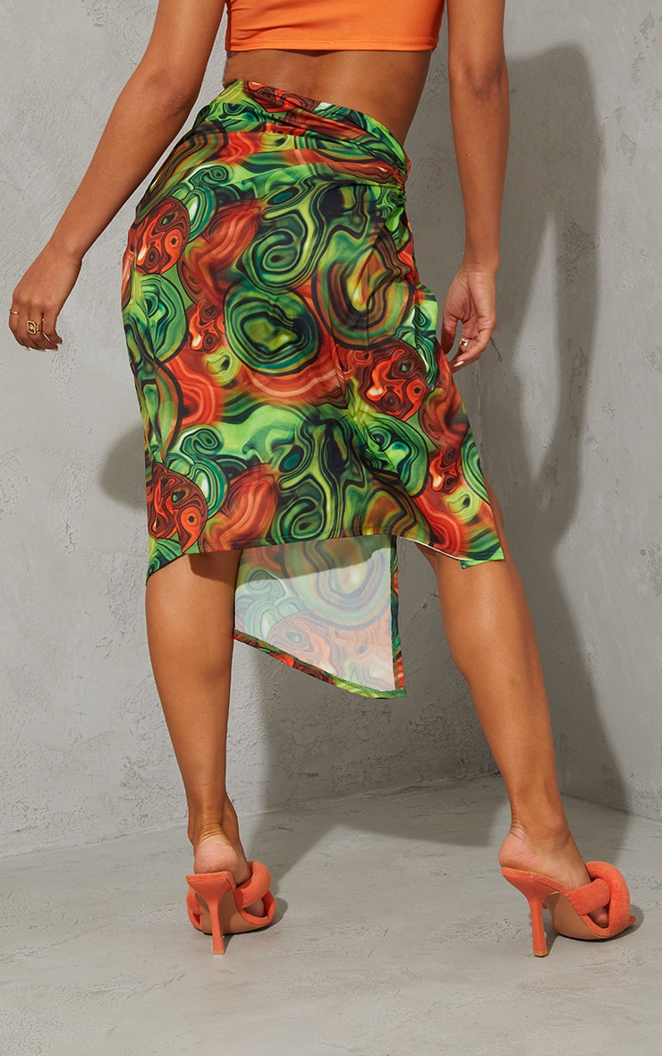Yellow Abstract Swirl Woven Ruched Cut Out Detailing Midi Skirt 3