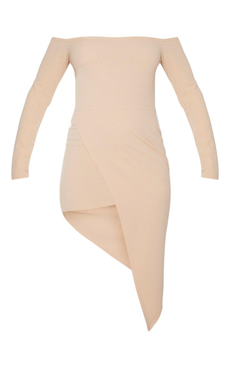 Stone Bardot Asymmetric Hem Midi Dress 3