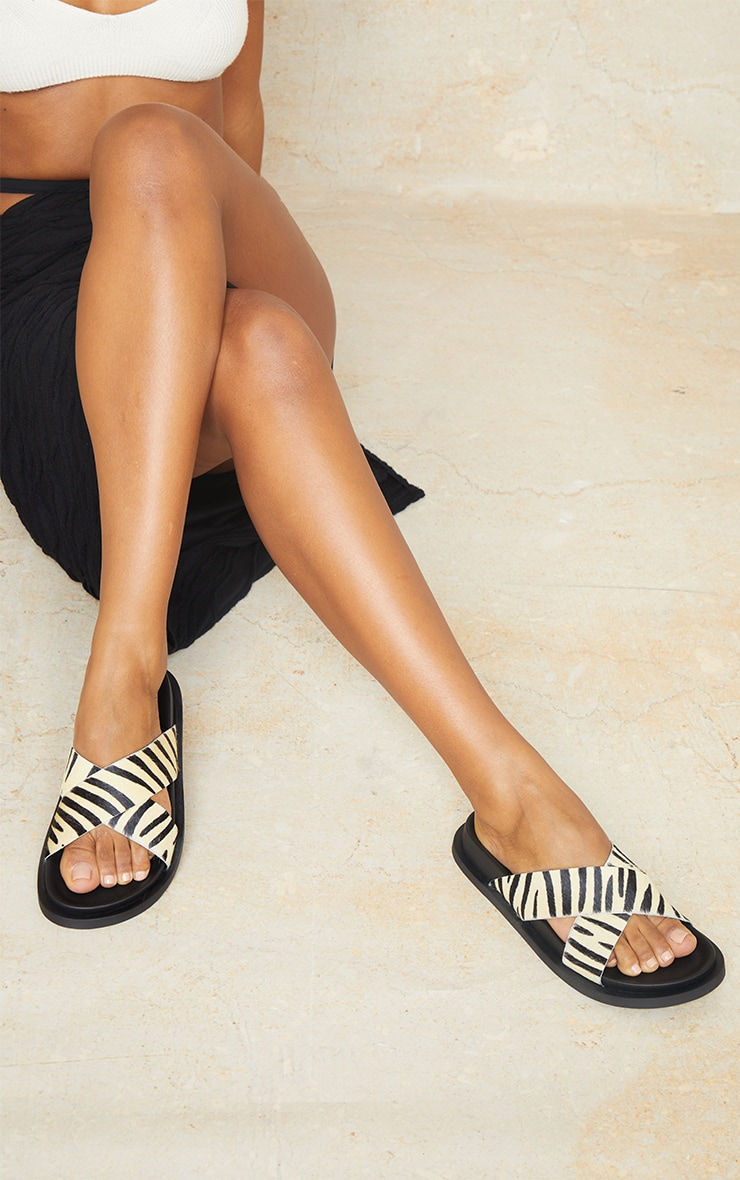 Zebra Real Leather Cross Over Footbed Mule Sandals 2