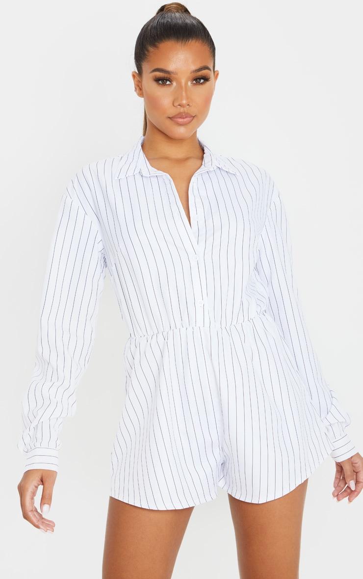 White Pinstripe Print Shirt Playsuit 1